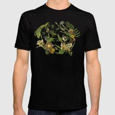 Botanical Pug Black MEDIUM Mens Fitted Tee