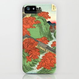 Hiroshige Temple & Mountains iPhone Case