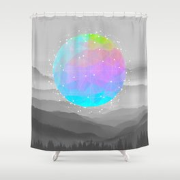 Worlds That Never Were (Geodesic Moon) Shower Curtain