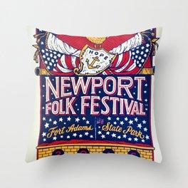 2016 Newport Folk Festival Concert Poster Throw Pillow