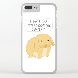 I Hate This Heteronormative Society Bunny Clear iPhone Case