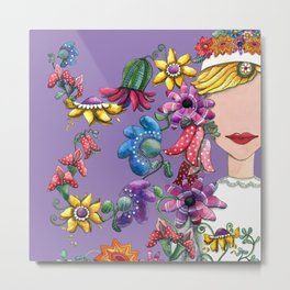 I Love the Flower Girl Lavender Metal Print