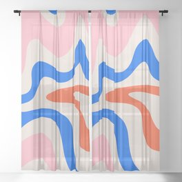 Retro Liquid Swirl Abstract Pattern Square Pink, Orange, and Royal Blue Sheer Curtain
