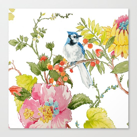 Bluejay Bird Day Floral Canvas Print