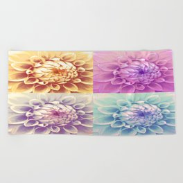 Dahlia Pastell Collage Beach Towel