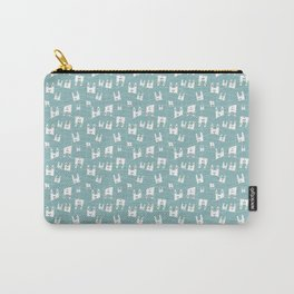 White bunnies on blue background Carry-All Pouch