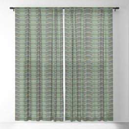 Geometric pattern with waves and pebbles in green Sheer Curtain
