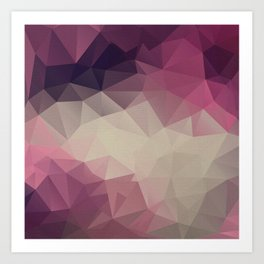 Polygon pattern . Triangles with a texture craquelure . Art Print