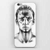 tom hiddleston iPhone & iPod Skins featuring Tom Hiddleston 3 by aleksandraylisk
