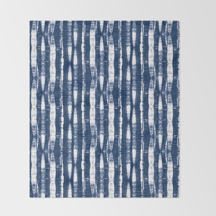 Shibori Stripes Indigo Blue Throw Blanket
