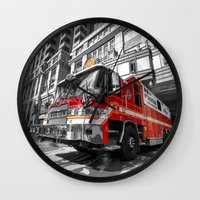 truck Wall Clocks featuring Fire Truck  by Rob Hawkins Photography