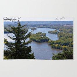 Upper Mississippi River, looking downriver from Buena Vista Park, Alma, WI Rug