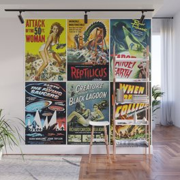 50s Sci-Fi Movie Poster Collage #1 Wall Mural