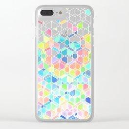 Rainbow Cubes & Diamonds Clear iPhone Case