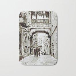 Carrer del Bisbe - Barcelona Black and White Bath Mat