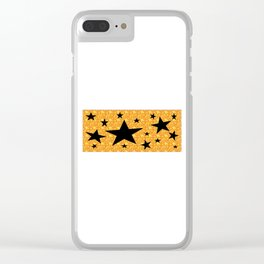 balck star and orange spiral Clear iPhone Case