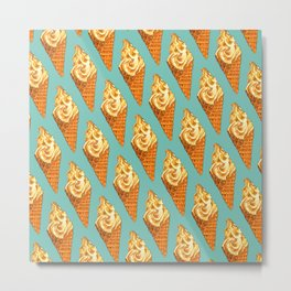 Ice Cream Pattern - Vanilla Metal Print