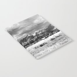 Horse and Grand Teton (Black and White) Notebook