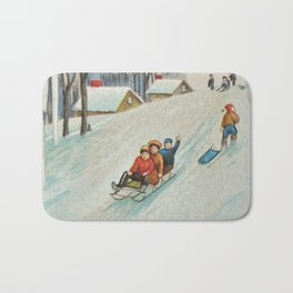 Happy vintage winter sledders Bath Mat