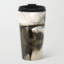 Worlds First Ironbridge over River Severn in England in sepia Travel Mug