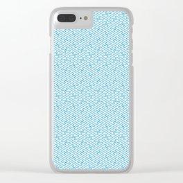 Blue Auspicious Sayagata Japanese Kimono Pattern Clear iPhone Case
