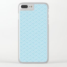 Blue Auspicious Sayagata Japanese Kimono Pattern Clear iPhone Case