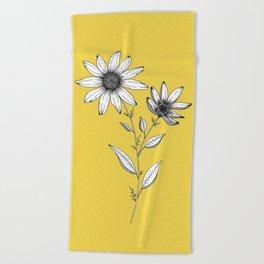 Wildflower line drawing | Botanical Art Beach Towel