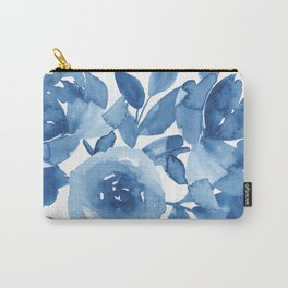 Blue Floral Watercolor Pattern Carry-All Pouch