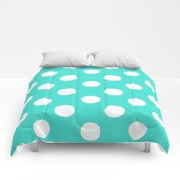 Polka Dots (White/Turquoise) Comforters