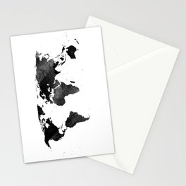 Black watercolor world map Stationery Cards