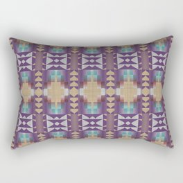 Purple Teal Turquoise Orange Mosaic Pattern Rectangular Pillow