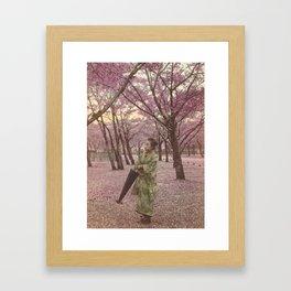 Geisha among Cherry Blossom trees Framed Art Print