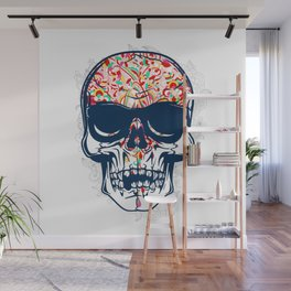 Dead Skull Zombie with Brain Wall Mural