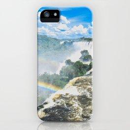 rainbow over waterfalls iPhone Case