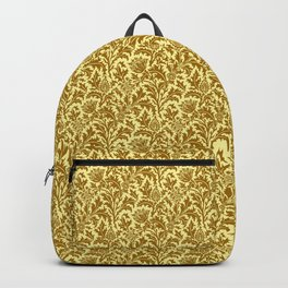 William Morris Thistle Damask in Mustard Gold Backpack