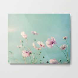Pink Aqua Blue Flower Photography, Teal Floral Nature Photo, Turquoise Nursery Botanical Picture Metal Print
