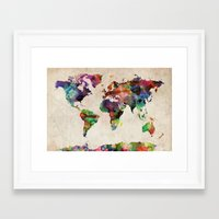 map Framed Art Prints featuring World Map Urban Watercolor by artPause