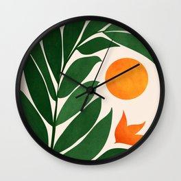 Tropical Forest Sunset / Mid Century Abstract Shapes Wall Clock