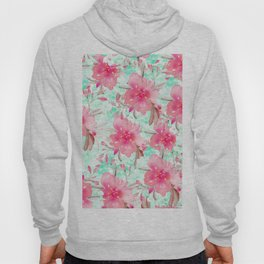 Hot pink turquoise hand painted watercolor floral Hoody