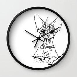 Big Eyed Pretty Wrinkly Kitty - Sphynx Cat Illustration - Nekkie - Cat Lover Gift Wall Clock