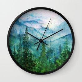 Spring Mountainscape Wall Clock