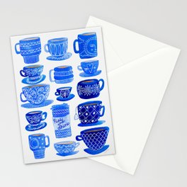 Coffee Mugs and Tea Cups - A study in blues Stationery Cards