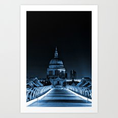St.Paul's Cathedral coloured blue. Art Print