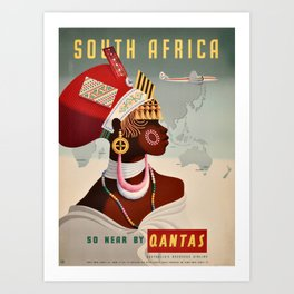 South Africa, Qantas - Vintage  Poster Art Print