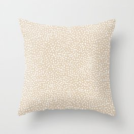 Little wild cheetah spots animal print neutral home trend warm honey yellow beige Throw Pillow