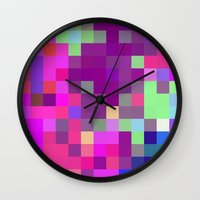 pixel art Wall Clocks featuring Pixel by FABIAN•SMITH