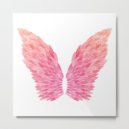 Pink Angel Wings Metal Print