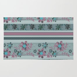 Retro . Turquoise and purple floral pattern . Rug