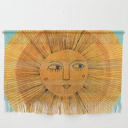 Sun Drawing Gold and Blue Wall Hanging