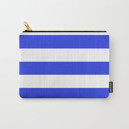 Palatinate blue - solid color - white stripes pattern Carry-All Pouch